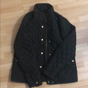 J. Crew black quilted jacket in a size small.